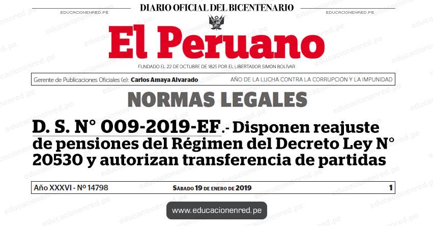 D. S. N° 009-2019-EF - Disponen reajuste de pensiones del Régimen del Decreto Ley N° 20530 y autorizan transferencia de partidas - MEF - www.mef.gob.pe