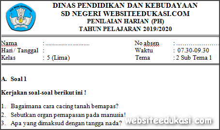 Soal PH / UH Kelas 5 Tema 2 Kurikulum 2013 Terbaru