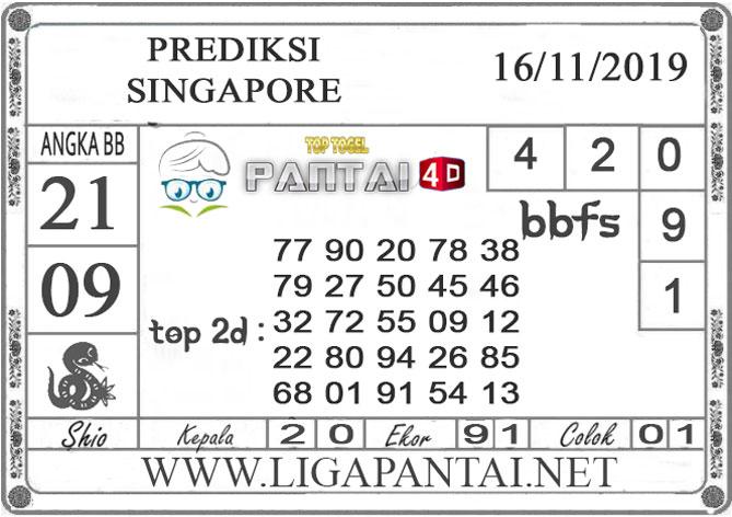 """PREDIKSI TOGEL """"SINGAPORE"""" PANTAI4D 16 NOVEMBER 2019"""