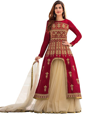 Red And Beige Embroidered Lehenga Choli