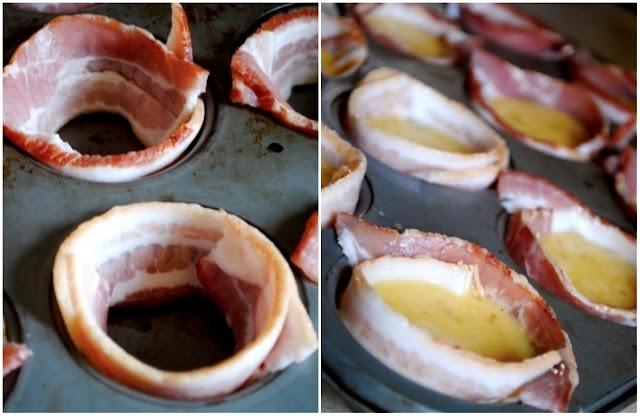 Café da manhã masculino: coloque bacon em cada furo de uma forma para panquecas, depois acrescente ovo batido, e frite.