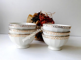 French Collectible set of Three Faience Coffee Bowls, Classic creamy white colour with Gold Rim Breakfast Ribbed Cafe Au Lait Bowls manufactured in France.