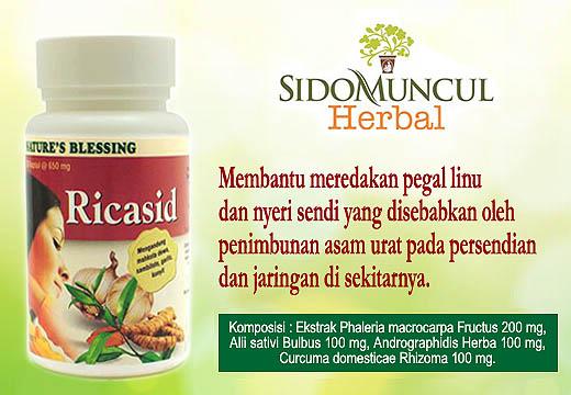 Sido Muncul Ricasid meredakan pegal linu dan nyeri sendi yang disebabkan oleh penimbunan asam urat dan membantu mengurangi kadar asam urat.