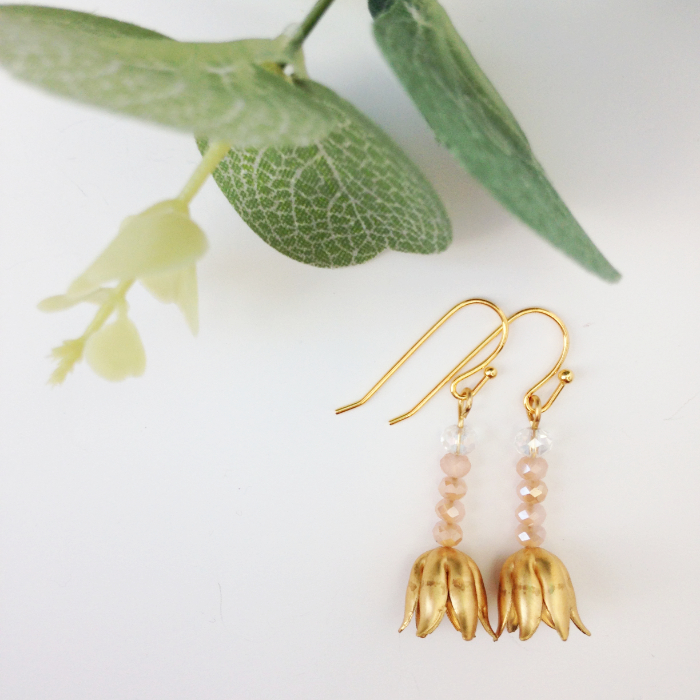 delicate gold tulip earrings blush crystal - great for alternative brides