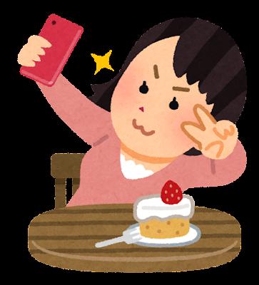 食べ物と自撮りをする人のイラスト