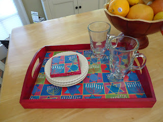 Hanukkah coaster and tray decor