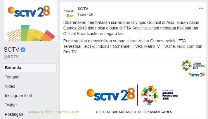 Hak Siar: Daftar Channel Yang Menyiarkan Asian Games 2018