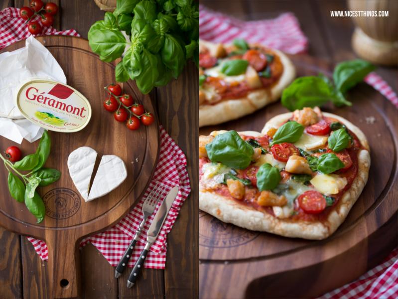 Herzpizza mit Huhn, Géramont, Spinat und Kirschtomaten