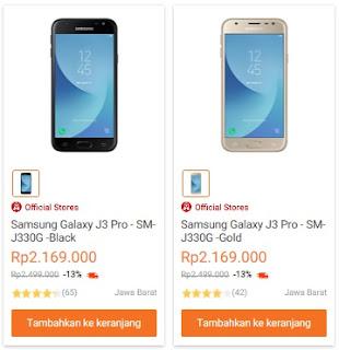 Harga Samsung Galaxy J3 Pro (2017) terbaru di Indonesia adalah Rp 2.169.000 (cicilan 12 bulan x Rp 180.750)