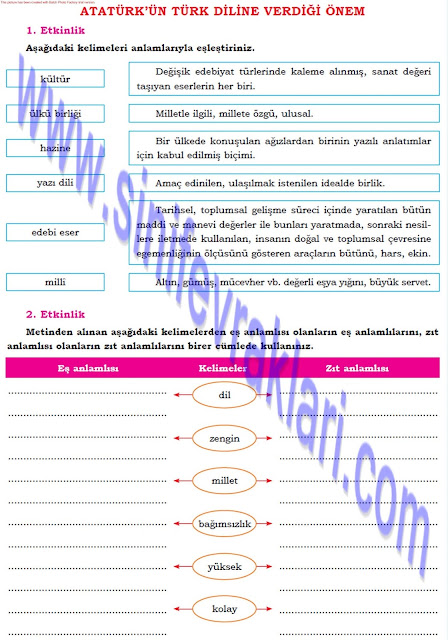 Dörtel Yayınları 8. Sınıf Türkçe Çalışma Kitabı Cevapları Sayfa 48