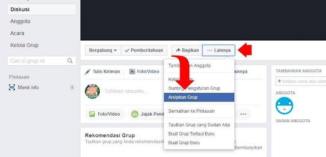 cara arsipkan grup facebook
