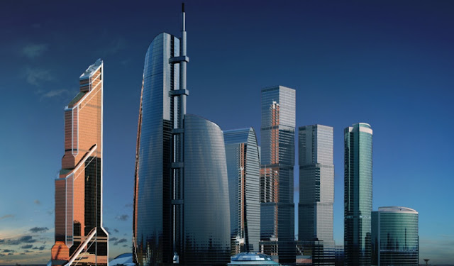 Rendering of new Moscow's skyline with domination of the Federation Tower