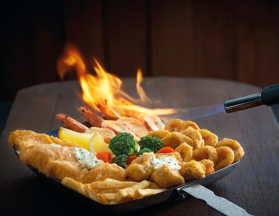 Manhattan Flaming Seafood Platter with flame