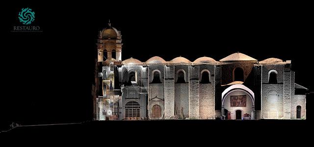 Restauro sac_Templo de Belén-Cusco_JRC 3D Reconstructor_Side elevation with high-res orthophoto