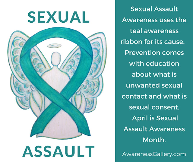 Sexual Assault Awareness Teal Ribbon Angel Art Educational Image