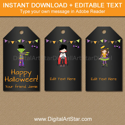 editable kids halloween chalkboard party favor tags