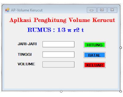 Cara Membuat Aplikasi Penghitung Volume Kerucut VB.NET