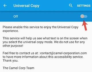 Enable Universal Copy service