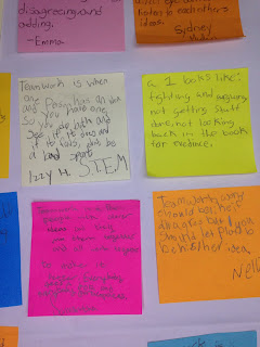 These are post-it note examples of how the students replied to the questions on the chart for the Teacher Observation Hack Rubric.