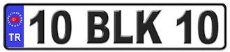 Balıkesir il isminin kısaltma harflerinden oluşan 10 BLK 10 kodlu Balıkesir plaka örneği
