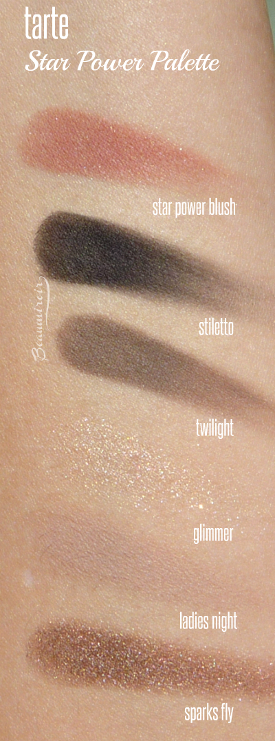 Swatches of all eyeshadows and blush: Star Power Blush, Stiletto, Twilight, Glimmer, Ladies Night, Sparks Fly. In the Eye & Cheek Palette in Star Power from tarte's new Double Duty Beauty collection