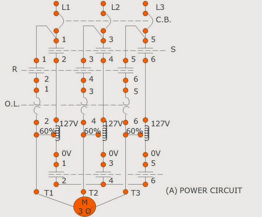 auto transformer motor starter diagram