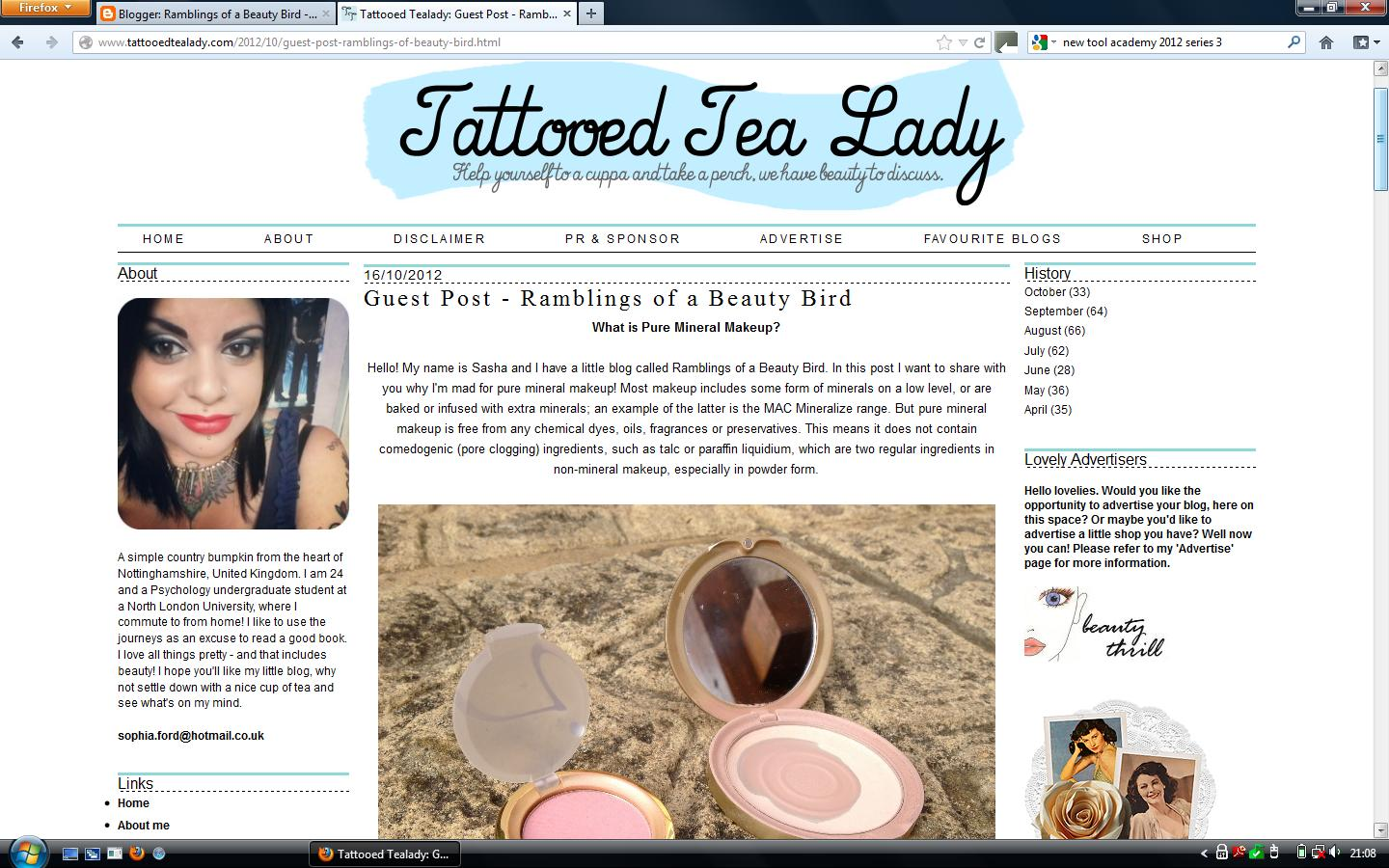 My Guest Post Over At Tattooed Tealady! | Ramblings of a