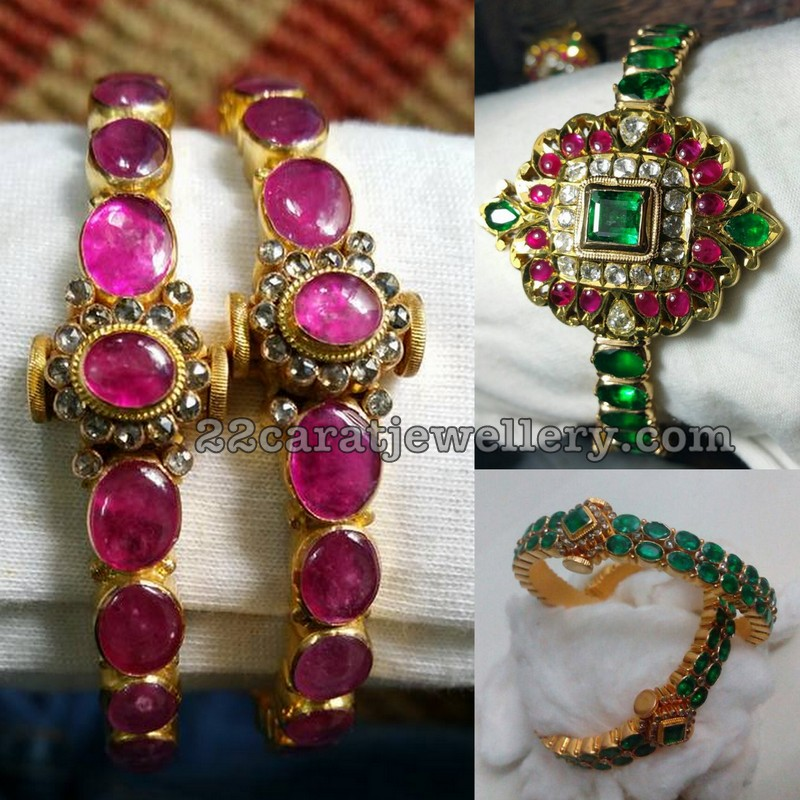 emerald with studded bangles gold searchcode