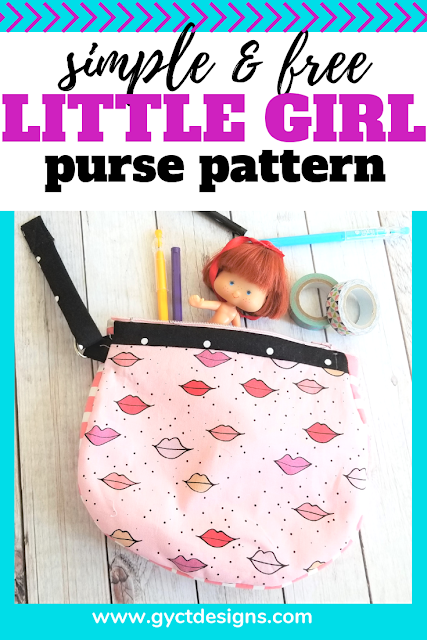 Make this simple purse with this free little girl purse pattern and tutorial.  Create a one of a kind gift using the Kiss Me Kate fabric from Riley Blake.