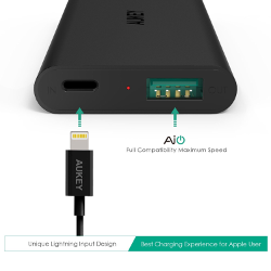 Aukey 3600mAh Portable Charger External Battery with AIPowerTech for iPhone6S 6, 6S 6 Plus, (The First Charger with Apple Lightning Input Port, Apple MFI Certified Lightning Cable is included)