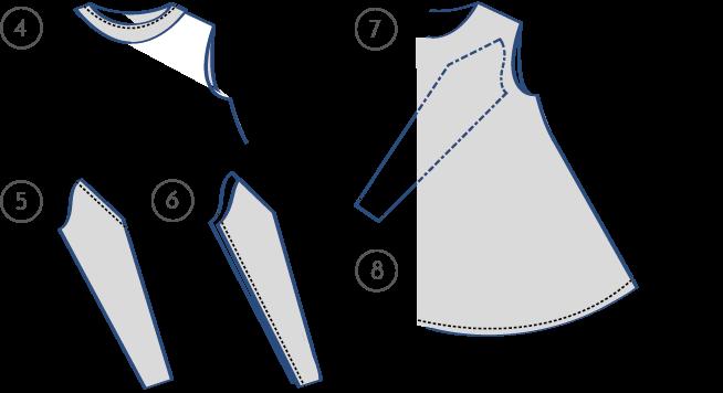 c6327cd56 Para ello colocamos la vista vuelta del revés sobre el escote del vestido  haciendo coincidir las costuras de los hombros y cosemos el contorno por el  ...