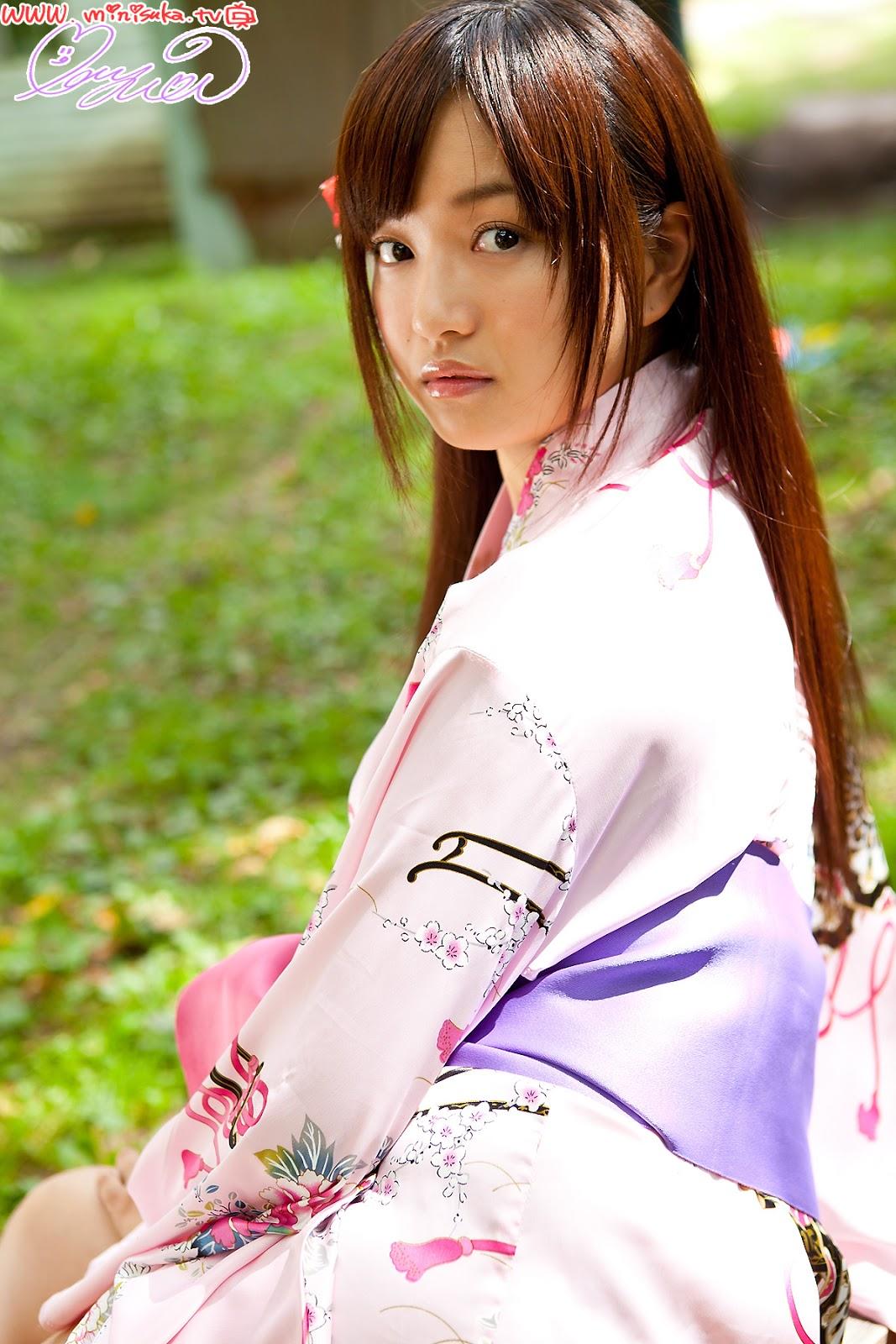 Mayumi Yamanaka Japanese Cute Idol Sexy Purple Kimono Robe