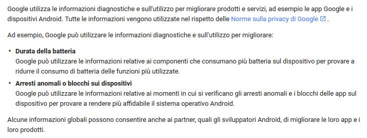 Utilizzo delle informazioni di Uso e diagnostica Android  da parte di Google