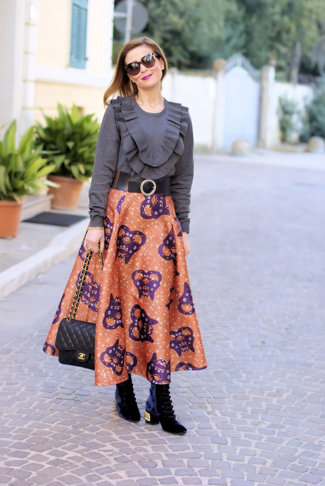 How to wear an afro print full midi skirt on Fashion and Cookies fashion blog, fashion blogger style