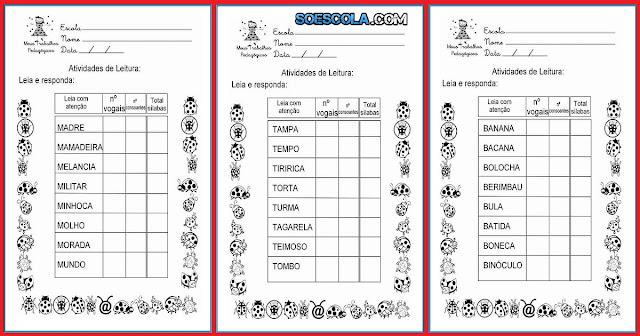 Confira nesta postagem atividades de leitura prontas para imprimir para trabalhar vogais, consoantes e sílabas.