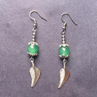 Green Jade Bead Dangle Earrings