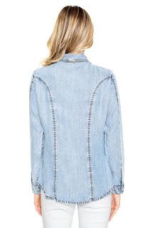 Camisa Jeans Lança Perfume Slim Básica Azul