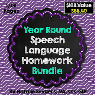 Year Round Speech and Language Homework Bundle