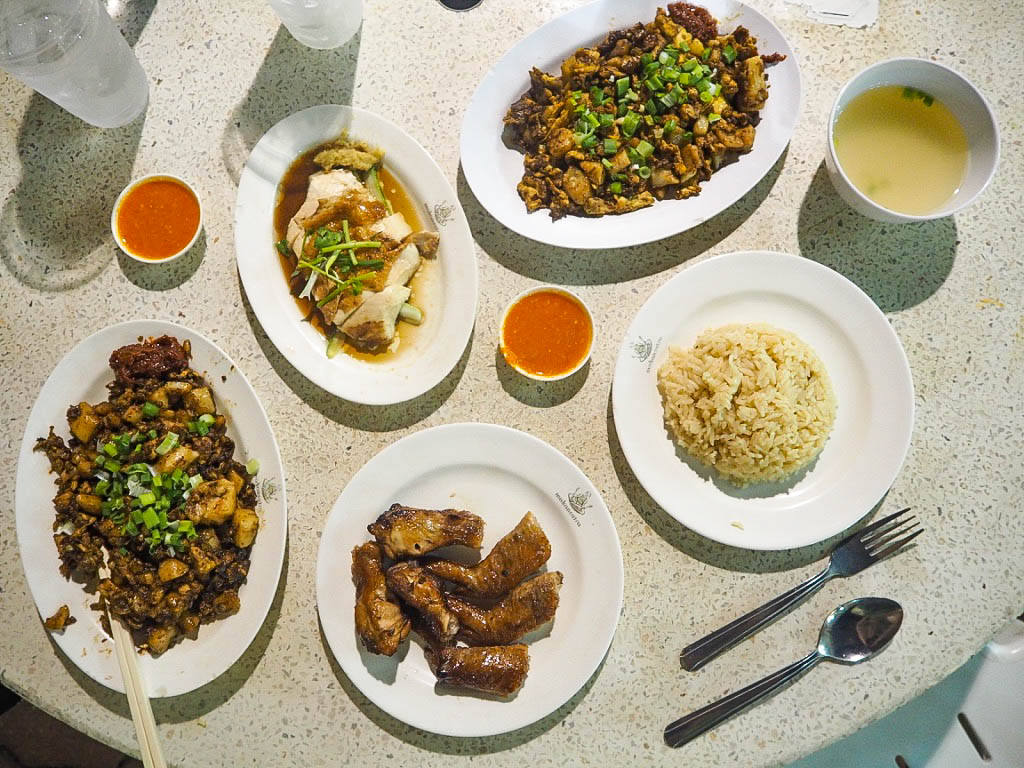 Chicken rice and carrot cake at Gluttons Bay hawker centre, Singapore