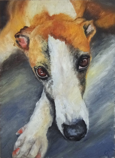 oil painting of dog, a greyhound, pet painting by Karen