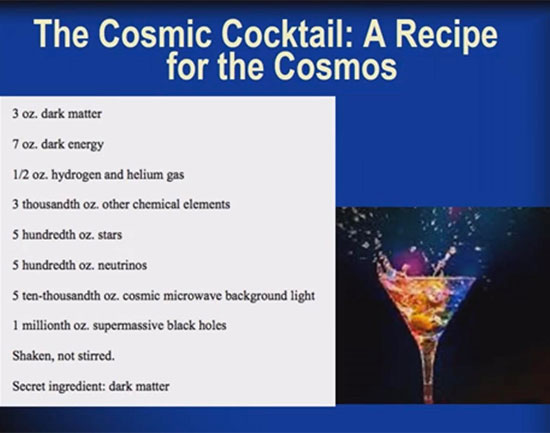 The Cosmic Cocktail Recipe (Source: Katherine Freese, at April APS Meeting in Denver)