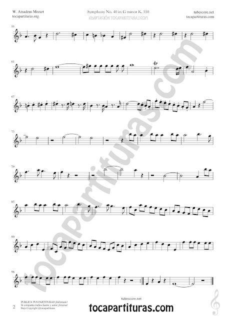 2 Partitura de Corno Inglés de Sinfonía Nº40 de Mozart Sheet Music for English Horn Music Scores
