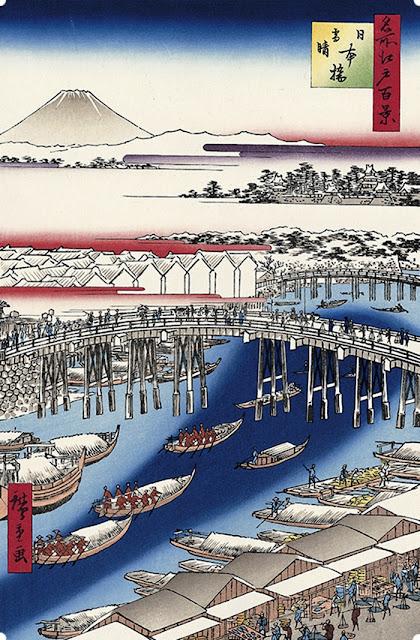 名所江戸百景 日本橋雪晴 広重ブルー