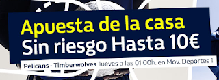 William Hill promocion New Orleans Pelicans vs Minnesota Timberwolves 2 noviembre