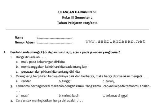 Kumpulan Soal Ulangan Harian Kelas 3 Semester 2