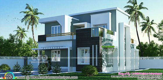 2 BHK flat roof modern flat roof house