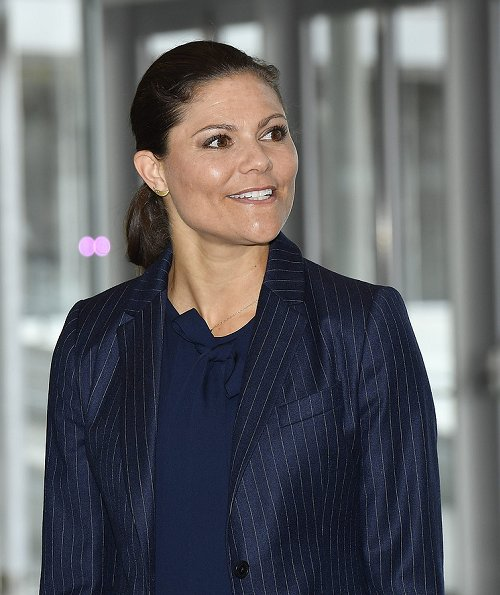 Crown Princess Victoria carried Dagmar Taylor Tote Bag, Ralph Lauren Suede Celia Pump and Malene Birger blouse. Charlotte Bonde Sthlm Louise Ribbon Earrings