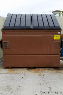 Cramer Imaging's photograph of a brown trash or garbage dumpster for a business complex