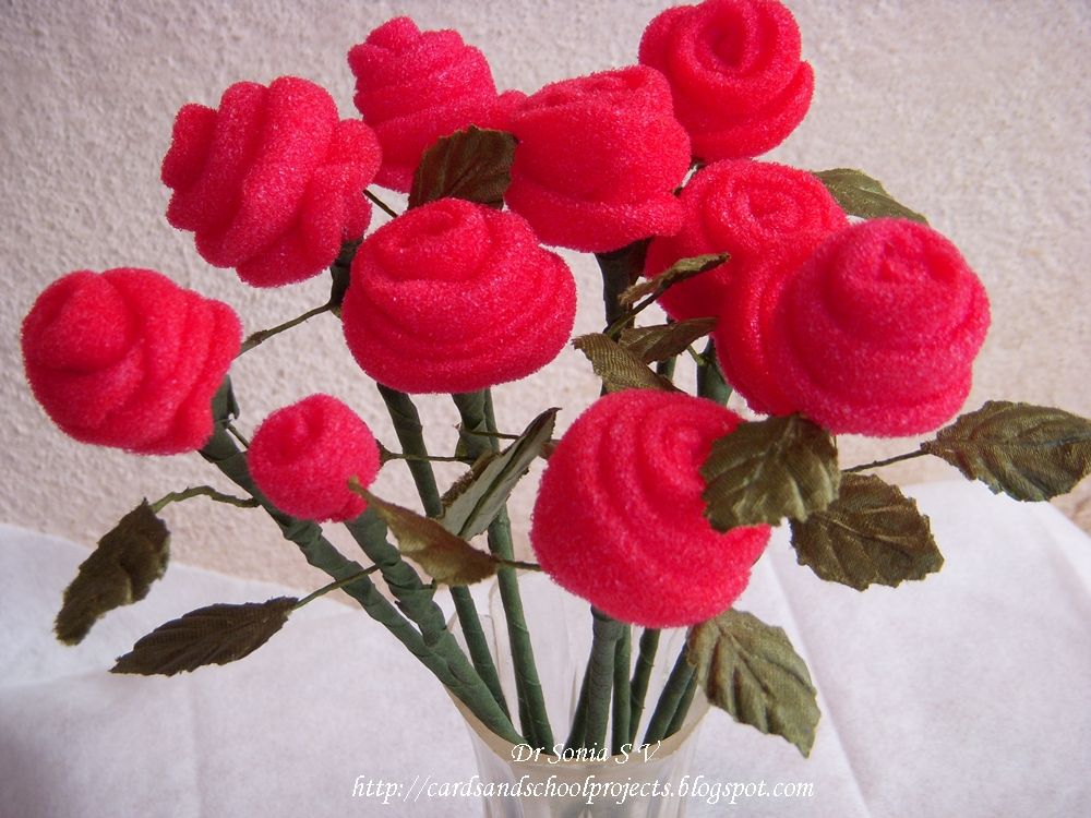 Cards Crafts Kids Projects How To Make Sponge Rose Bud Flowers