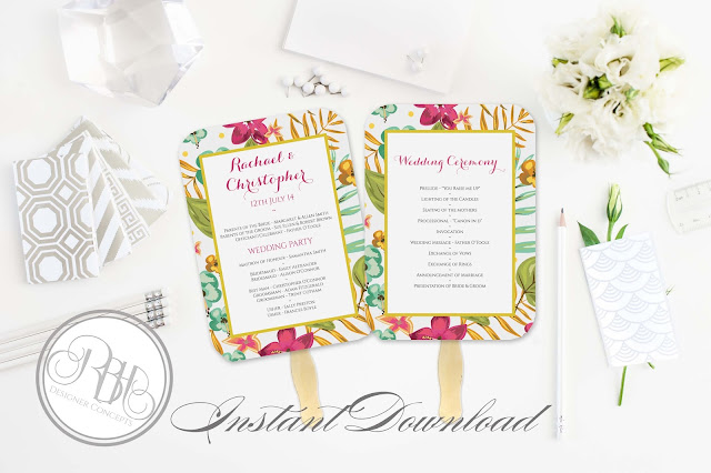 tropical watercolour ceremony program pink hibiscus-island wedding-by rbh designer concepts